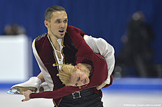 First placed Tatiana Volosozhar (R) and Maxim Trankov (L) of Russia compete during pairs free skating event during the European Figure Skating Championships in Bratislava on January 30, 2016. / AFP / SAMUEL KUBANI