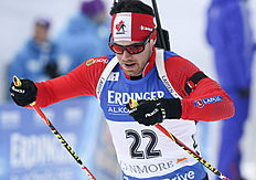 Nathan Smith of Canmore, Alberta, competes in the men's 10-kilometer sprint at the biathlon World Cup event in Canmore, Alberta, Canada, Thursday, Feb. 4, 2016. (Mike Ridewood/The Canadian Press via AP) MANDATORY CREDIT