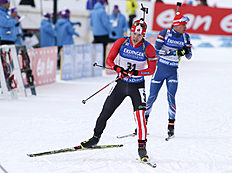 Macx Davies of Canmore, Alberta, competes in the men's 10-kilometer sprint at the biathlon World Cup event in Canmore, Alberta, Canada, Thursday, Feb. 4, 2016. (Mike Ridewood/The Canadian Press via AP) MANDATORY CREDIT