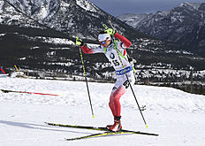 Monika Hojnisz of Poland competes at the biathlon World Cup event in Canmore, Alberta, Canada, Friday, Feb. 5, 2016. (Mike Ridewood/The Canadian Press via AP) MANDATORY CREDIT