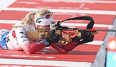 Krystyna Guzik of Poland competes at the biathlon World Cup event in Canmore, Alberta, Canada, Friday, Feb. 5, 2016. (Mike Ridewood/The Canadian Press via AP) MANDATORY CREDIT
