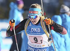 Lisa Theresa Hauser, of Austria, competes in the single mixed relay at the IBU biathlon World Cup in Canmore, Alberta, Sunday, Feb. 7, 2016. (Mike Ridewood/The Canadian Press via AP) MANDATORY CREDIT