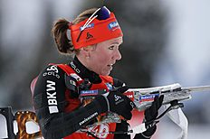 Selina Gasparin of Sweden competes in the sprint competition during the World Cup Biathlon, Thursday, Feb. 11, 2016, in Presque Isle, Maine. (AP Photo/Robert F. Bukaty)