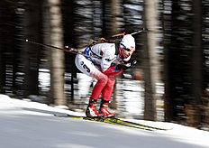 Krystyna Guzik of Poland skis to a fourth place finish in the 12.5 km pursuit competition during the World Cup Biathlon, Friday, Feb. 12, 2016, in Presque Isle, Maine. (AP Photo/Robert F. Bukaty)