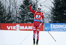 Norway's Tarjei Boe crosses the finish line after leading his team to victory in the relay competition at the World Cup Biathlon, Saturday, Feb. 13, 2016, in Presque Isle, Maine. (AP Photo/Robert F. Bukaty)