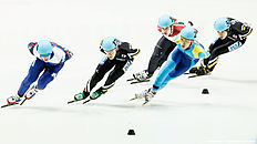 DORDRECHT, NETHERLANDS — FEBRUARY 13: Ruslan Zakharov (L) of Russia, Nurbergen Zhumagaziyev (2nd from L) of Kazakhstan, Keita Watanabe (2nd from R) of Japan, Viktor Knoch (3rd from L) of Hungary and Ryosuke Sakazume (R) of Japan compete in the Mens 1500m B Final during ISU Short Track Speed Skating World Cup held at The Sportboulevard on February 13, 2016 in Dordrecht, Netherlands.