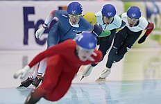Alexis Contin, of France, skates to take the bronze of the men's mass start race of the speedskating single distance World Championships in Kolomna, Russia, on Sunday, Feb. 14, 2016. (AP Photo/Ivan Sekretarev)