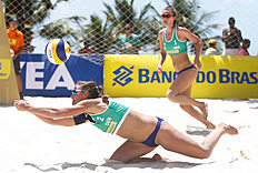 MACEIO, BRAZIL — FEBRUARY 23: Helle Sondergard of Denmark competes in the qualifying match against Russia at Pajucara beach during day one of the FIVB Beach Volleyball World Tour Maceio Open, on February 23, 2014 in Maceio, Brazil.