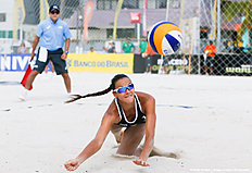 MACEIO, BRAZIL — FEBRUARY 23: Elizaveta Zayonchkovskaya of Russia competes in the qualifying match against Denmark at Pajucara beach during day one of the FIVB Beach Volleyball World Tour Maceio Open, on February 23, 2014 in Maceio, Brazil.