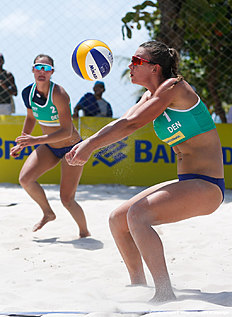 MACEIO, BRAZIL — FEBRUARY 23: Trans Hansen of Denmark competes in the qualifying match against Russia at Pajucara beach during day one of the FIVB Beach Volleyball World Tour Maceio Open, on February 23, 2014 in Maceio, Brazil.