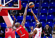 KRASNODAR, RUSSIA — FEBRUARY 25: Jacob Pullen, #0 of Cedevita Zagreb competes with Chris Singleton, #1 of Lokomotiv Kuban Krasnodar during the 2015-2016 Turkish Airlines Euroleague Basketball Top 16 Round 8 game between Lokomotiv Kuban Krasnodar v Cedevita Zagreb at Basket Hall on February 25, 2016 in Krasnodar, Russia.