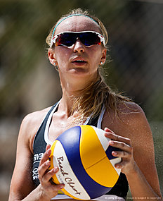 MACEIO, BRAZIL — FEBRUARY 26: Ekaterina Birlova of Russia lokks on during the main draw match against Finland at Pajucara beach during day four of the FIVB Beach Volleyball World Tour Maceio Open, on February 26, 2016 in Maceio, Brazil.