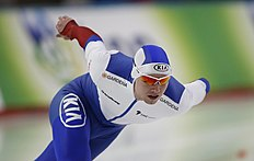 Russia's Pavel Kulizhnikov skates to a second-place finish during the men's 1000 meter race of the World Sprint Speed Skating Championships in Seoul, South Korea, Saturday, Feb. 27, 2016. (AP Photo/Lee Jin-man)