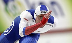 Aleksey Yesin of Russia skates during the men's 1,000 meter race of the World Sprint Speed Skating Championships in Seoul, South Korea, Saturday, Feb. 27, 2016. (AP Photo/Lee Jin-man)