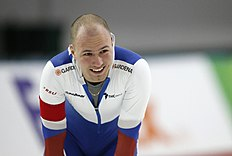 Russia's Pavel Kulizhnikov reacts after the men's 1,000 meter race of the ISU World Sprint Speed Skating Championships in Seoul, South Korea, Sunday, Feb. 28, 2016. (AP Photo/Lee Jin-man)