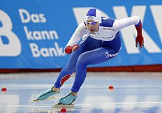 Russia's Nadezhda Aseyeva skates during the ladies' 500-meter race of the ISU World Sprint Speed Skating Championships in Seoul, South Korea, Sunday, Feb. 28, 2016. (AP Photo/Lee Jin-man)