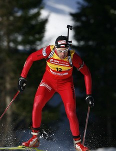 Poland's Tomasz Sikora competes in the IBU Biathlon World Cup men's 10 km sprint event in Tronhdeim March 19, 2009.