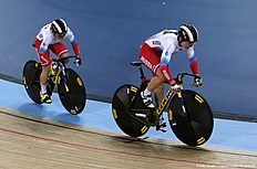 Russia's Anastasiia Voinova and Russia's Daria Shmeleva cycle to gold in the Women's team sprint final during the 2016 Track Cycling World Championships at the Lee Valley VeloPark in London on March 2, 2016 / AFP / ADRIAN DENNIS