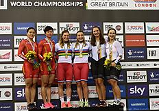 (L-R) Siveer medallists China's Jinjie Gong and China's Tianshi Zhong, Gold medallists Russia's Anastasiia Voinova and Russia's Daria Shmeleva and bronze Germany's Kristina Vogel and Germany's Miriam Welte pose on the podium after the Women's team sprint final during the 2016 Track Cycling World Championships at the Lee Valley VeloPark in London on March 2, 2016 / AFP / Eric FEFERBERG