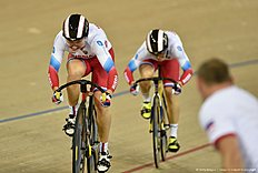 Russia's Daria Shmeleva and Russia's Anastasiia Voinova cycle to gold in the Women's team sprint final during the 2016 Track Cycling World Championships at the Lee Valley VeloPark in London on March 2, 2016 / AFP / Eric FEFERBERG