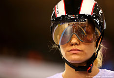 LONDON, ENGLAND — MARCH 02: Anastasiia Voinova of Russia during the UCI Track Cycling World Championships at Lee Valley Velopark Velodrome on March 2, 2016 in London, England.