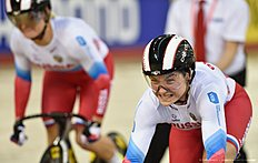 Russia's Anastasiia Voinova and Russia's Daria Shmeleva compete in the Women's team sprint qualification during the 2016 Track Cycling World Championships at the Lee Valley VeloPark in London on March 2, 2016 / AFP / Eric FEFERBERG