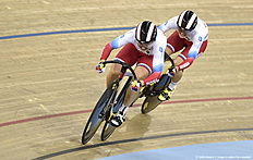 Russia's Anastasiia Voinova and Russia's Daria Shmeleva compete in the Women's team sprint qualification during the 2016 Track Cycling World Championships at the Lee Valley VeloPark in London on March 3, 2016 / AFP / Eric FEFERBERG