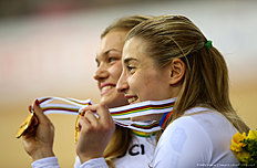 LONDON, ENGLAND — MARCH 02: Anastasiia Voinova (L) and Daria Shmeleva (R) of Russia celebrate winning the gold medal in the Womens team sprint race during the UCI Track Cycling World Championships at Lee Valley Velopark Velodrome on March 2, 2016 in London, England.