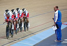 Russia's team compete in the Women's Team Pursuit qualification during the 2016 Track Cycling World Championships at the Lee Valley VeloPark in London on March 3, 2016 / AFP / ADRIAN DENNIS