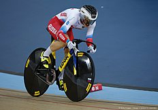 Russia's Anastasiia Voinova cycles to gold in the Women's 500m time trial final during the 2016 Track Cycling World Championships at the Lee Valley VeloPark in London on March 4, 2016 / AFP / ADRIAN DENNIS