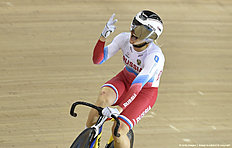 Russia's Anastasiia Voinova celebrates after taking gold in the Women's 500m time trial final during the 2016 Track Cycling World Championships at the Lee Valley VeloPark in London on March 4, 2016 / AFP / Eric FEFERBERG
