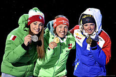 OSLO, NORWAY — MARCH 6: (FRANCE OUT) Marie Dorin Habert of france wins the bronze medal, Laura Dahlmeier of Germany wins the gold medal, Dorothea Wierer of Italy wins the silver medal during the IBU Biathlon World Championships Men's and Women's Pursuit on March 6, 2016 in Oslo, Norway.