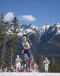 CANMORE, CANADA � MARCH 09: Giulia Stuerz (ITA), Anne Hart (USA), Hanna Falk (SWE) during Cross Country Ladies Skiathlon 7.5 km Classic + 7.5 km Free on March 09, 2016 in Canmore, Canada .