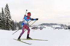 Russias Evgeniy Garanichev competes in the Men 20 km Individual event at the IBU World Championships Biathlon competition in Oslo Holmenkollen, on March 10, 2016. / AFP / JONATHAN NACKSTRAND