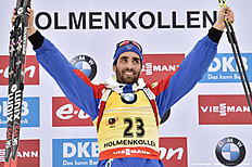 OSLO, NORWAY � MARCH 10: (FRANCE OUT) Martin Fourcade of France wins the gold medal during the IBU Biathlon World Championships Men's 20km Individual on March 10, 2016 in Oslo, Norway.