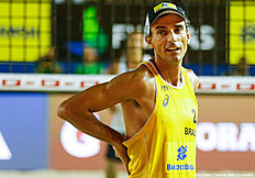 RIO DE JANEIRO, BRAZIL — MARCH 10: Emanuel Rego of Brazil looks on during the main draw match against Russia at Copacabana beach during day three of the FIVB Beach Volleyball Rio Grand Slam, on March 10, 2016 in Rio de Janeiro, Brazil.