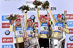 OSLO, NORWAY � MARCH 11: (FRANCE OUT) Team Norway wins the gold medal during the IBU Biathlon World Championships Women's Relay on March 11, 2016 in Oslo, Norway.