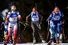 OSLO, NORWAY � MARCH 11: (FRANCE OUT) Maren Hammerschmidt of Germany wins the bronze medal during the IBU Biathlon World Championships Women's Relay on March 11, 2016 in Oslo, Norway.