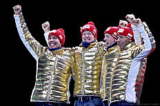 OSLO, NORWAY � MARCH 12: (FRANCE OUT) Team Norway celebrates winning the gold medal during the IBU Biathlon World Championships Men's Relay on March 12, 2016 in Oslo, Norway.