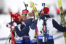 OSLO, NORWAY � MARCH 12: (FRANCE OUT) Team Norway wins the gold medal during the IBU Biathlon World Championships Men's Relay on March 12, 2016 in Oslo, Norway.