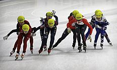 Teams, from left to right, of China, South Korea, Canada and Russia compete during the women's 3000 meter relay final race at the ISU World Cup Short Track Speed Skating competition in Seoul, South Korea, Sunday, March 13, 2016. South Korea won the race while Canada took second and Russia third. (AP Photo/Ahn Young-joon)