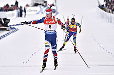 OSLO, NORWAY � MARCH 13: (FRANCE OUT) Johannes Thingnes Boe of Norway wins the gold medal during the IBU Biathlon World Championships Men's and Women's Mass Start on March 13, 2016 in Oslo, Norway.