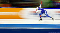 HEERENVEEN, NETHERLANDS — MARCH 13: Denisu00a0Yuskov of Russia competes in the mens 1500m race during day three of the ISU World Cup Speed Skating Finals held at Thialf Ice Arena on March 13, 2016 in Heerenveen, Netherlands.