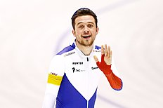 HEERENVEEN, NETHERLANDS — MARCH 13: Denisu00c2u00a0Yuskov of Russia celebrates after he competes in the mens 1500m race during day three of the ISU World Cup Speed Skating Finals held at Thialf Ice Arena on March 13, 2016 in Heerenveen, Netherlands. (Photo by Dean Mouhtaropoulos/Getty Images)