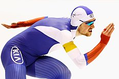 HEERENVEEN, NETHERLANDS — MARCH 13: Denisu00c2u00a0Yuskov of Russia competes in the mens 1500m race during day three of the ISU World Cup Speed Skating Finals held at Thialf Ice Arena on March 13, 2016 in Heerenveen, Netherlands. (Photo by Dean Mouhtaropoulos/Getty Images)