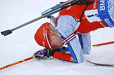 Winner Kaisa Makarainen of Finland reacts after the finish of the women's 10 km pursuit at the IBU World Championships Biathlon at Khanty-Mansiysk, 2759 km north-east of Moscow, Russia, Saturday, March 19, 2016. (AP Photo/Sergei Grits)