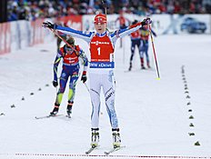 Kaisa Makarainen of Finland reacts at the finish line of the women's 10 km pursuit at the IBU World Championships Biathlon at Khanty-Mansiysk, 2759 km north-east of Moscow, Russia, Saturday, March 19, 2016. (AP Photo/Sergei Grits)