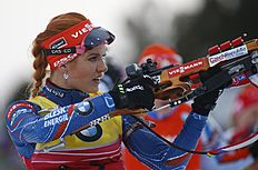 Gabriela Soukalova of Czech Republic in action at the shooting range in the women's 10 km pursuit at the IBU World Championships Biathlon at Khanty-Mansiysk, 2759 km north-east of Moscow, Russia, Saturday, March 19, 2016. (AP Photo/Sergei Grits)