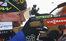 Second placed Marie Dorin Habert of France in action at the shooting range in the women's 10 km pursuit at the IBU World Championships Biathlon at Khanty-Mansiysk, 2759 km north-east of Moscow, Russia, Saturday, March 19, 2016. (AP Photo/Sergei Grits)