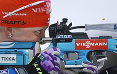 Winner Kaisa Makarainen of Finland in action on the shooting range in the women's 10 km pursuit at the IBU World Championships Biathlon at Khanty-Mansiysk, 2759 km north-east of Moscow, Russia, Saturday, March 19, 2016. (AP Photo/Sergei Grits)